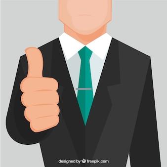 親指を上にしてビジネスマン