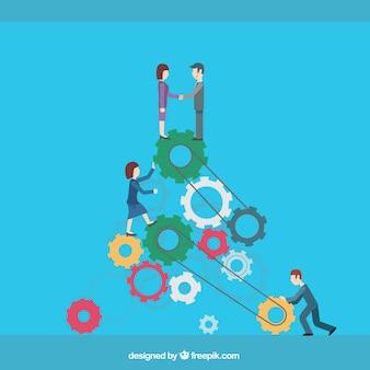 ビジネスチームワークの漫画