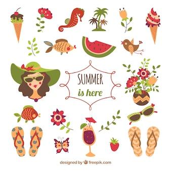 夏の要素のイラスト