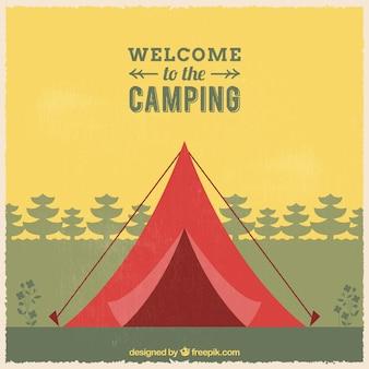 キャンプの背景にようこそ