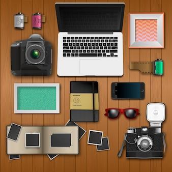 現実的な写真家の机