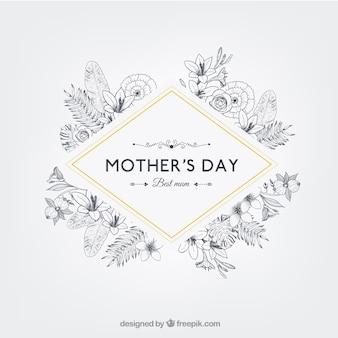 レトロなスタイルで花の母親の日のバッジ