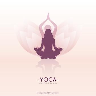 蓮のヨガの位置に瞑想女