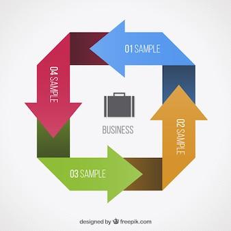 Стрелки цикл инфографики для бизнеса