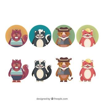 Симпатичные персонажи животных