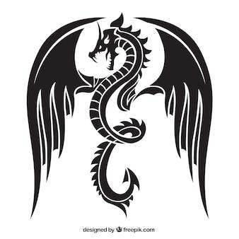 怒っているドラゴンのシルエット