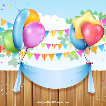 風船やホオジロと誕生日バナー