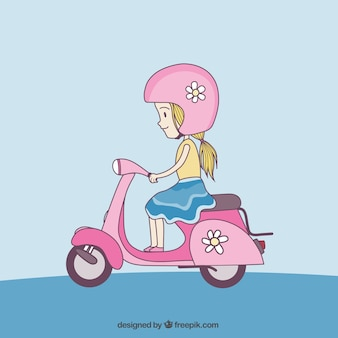 Симпатичные девушки с скутер