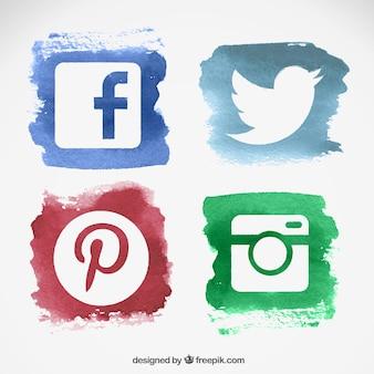 Акварель социальные медиа логотипы