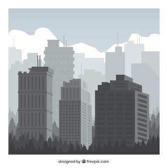Серые городские здания