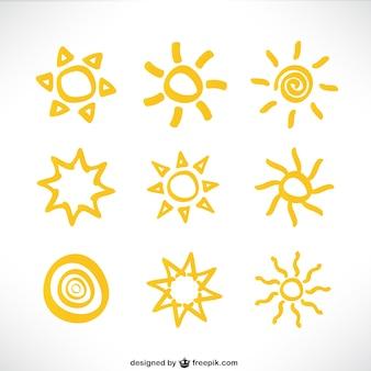 太陽のアイコンのコレクション