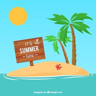 夏の木の看板