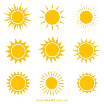 太陽の様々なアイコン