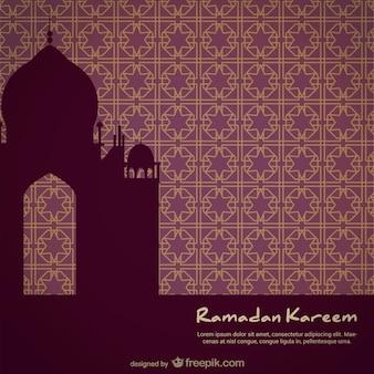 モザイクの背景にモスクのシルエット