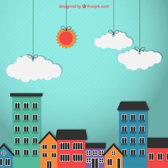 着色された都市の建物
