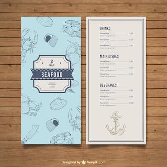 Меню ресторана морепродуктов