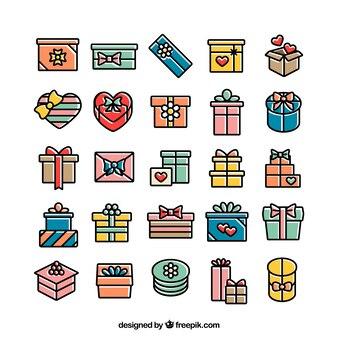 Красочные подарочные коробки иконки