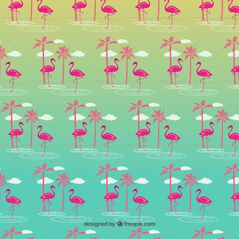 フラミンゴと熱帯パターン