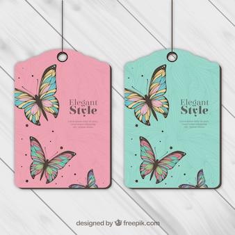 Теги с бабочками