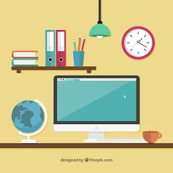 Рабочая область с компьютером