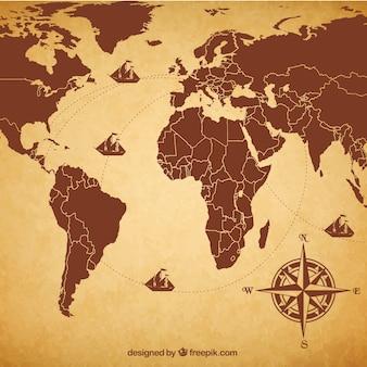 Карта мира ретро