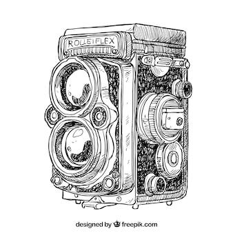 手描きのアンティークカメラ