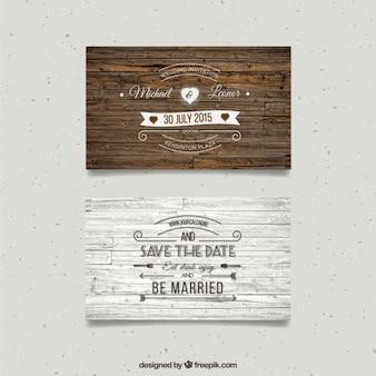 木製の結婚式のカード