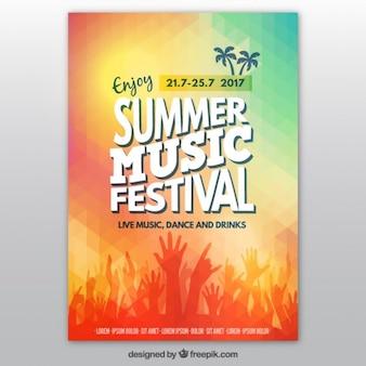Красочные летом музыкальный фестиваль плакат