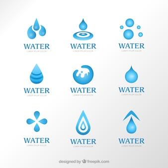 水のロゴのバラエティ