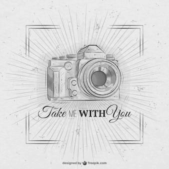 手描きのレトロなカメラ