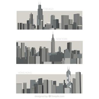 灰色の都市の様々な