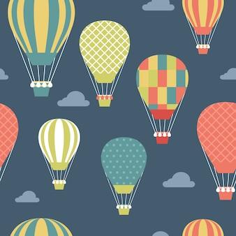 色付きの熱気球とパターン