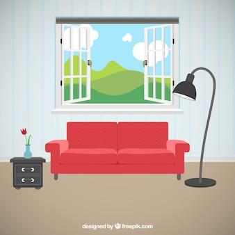 美しい景色を望むリビングルーム