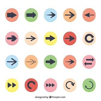 着色された矢印アイコンのコレクション