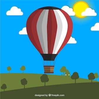 牧草地での熱気球