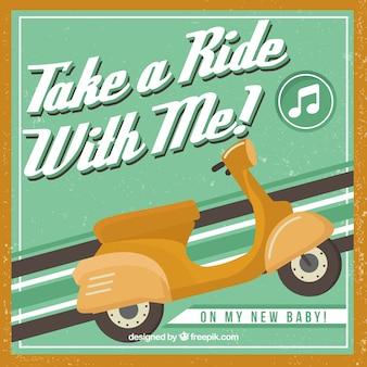 Ретро плакат скутер