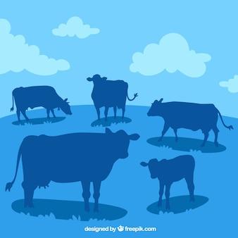 多くの牛のシルエットのある風景