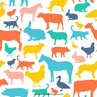 カラフルな動物のシルエットパターン