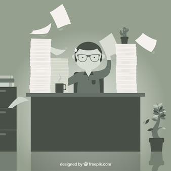 Монохромный офисный работник иллюстрация