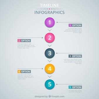 カラフルなサークルとインフォグラフィックのタイムライン