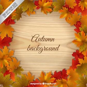葉と木製の背景