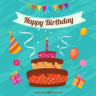 Счастливый поздравительная открытка с тортом