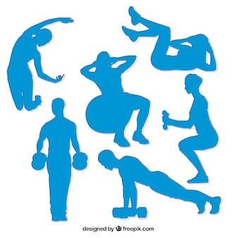 Синие спортивные силуэты