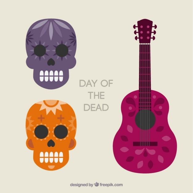 頭蓋骨と死者の日のためのギター