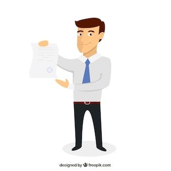 文書とビジネスマン