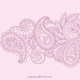 ピンク色で手描きペイズリー飾り