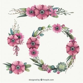 手描き花の花輪