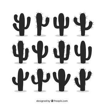 Силуэты кактусов