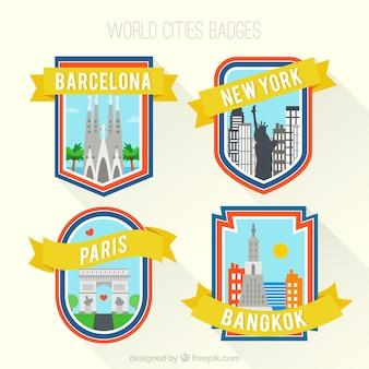 世界の都市のバッジ