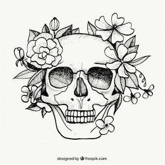 Ручная роспись череп и цветы